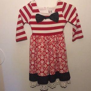 EUC Vintage Girls Red White and Black Dress s6X
